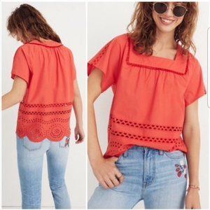 MADEWELL red eyelet Angelica boho top